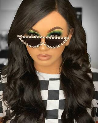Flat Top Diamond Cat Eye Sunglasses Rhinestone Bling Sunnies Fashion Shades (Bling Cat Eye Sunglasses)