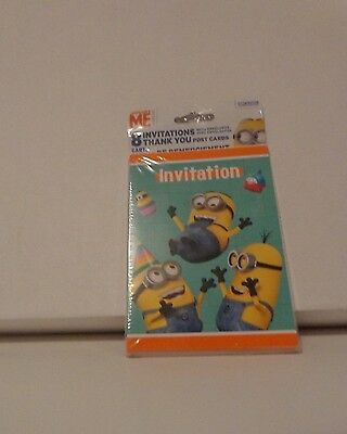 Despicable Me  Birthday Party  Invitations, Envelopes & Thank You Cards 8 Each