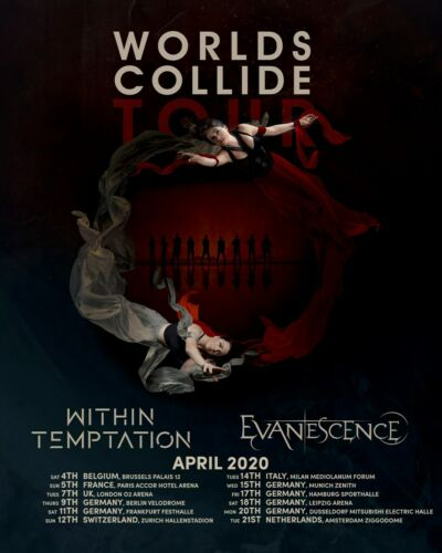 """WITHIN TEMPTATION / EVANESCENCE """"WORLDS COLLIDE TOUR 2020"""" EUROPE CONCERT POSTER"""