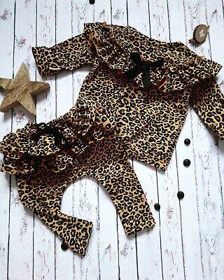 Newborn Toddler Baby Girl Leopard Tops T-shirt + Ruffle Long Pants Outfit Set US
