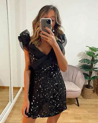 New ZARA CONTRAST SEQUINNED DRESS Size XS UK 6-8 Bloggers Fav INSTA