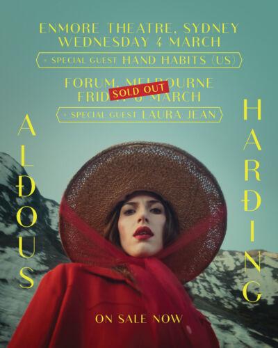 ALDOUS HARDING/HAND HABITS 2020 AUSTRALIA CONCERT TOUR POSTER - Indie Folk Music