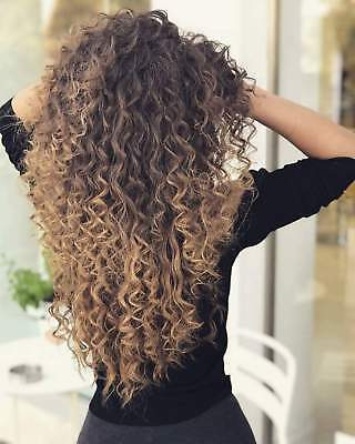 Women Long Curly Wig Synthetic Hair Wigs Ombre Black & Brown Mix Blonde Wig USA
