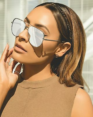Quay Australia X Desi Perkins High Key Aviator Sunglasses Silver Silver NWT NEW!