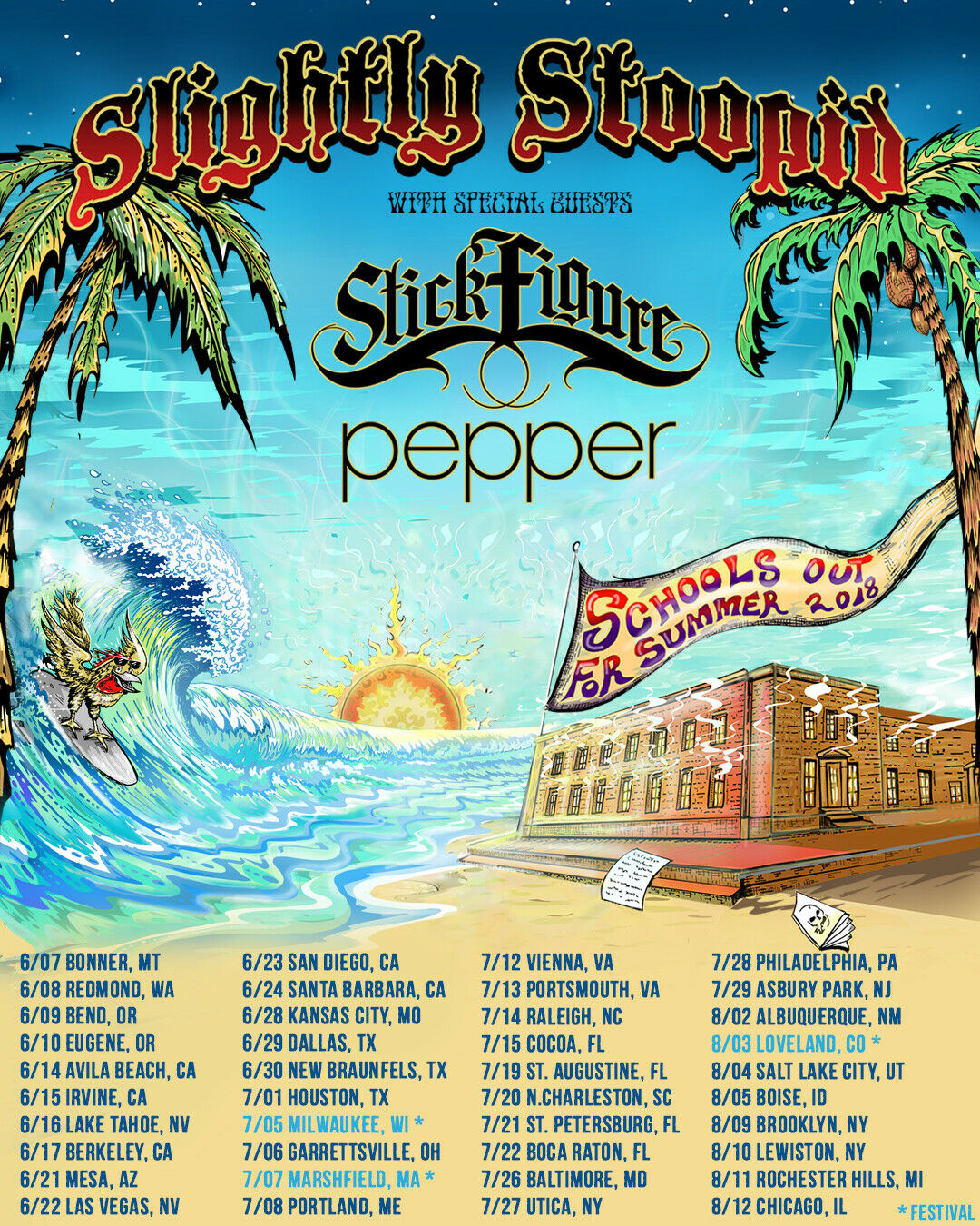 SLIGHTLY STOOPID/STICK FIGURE/PEPPER SCHOOLS OUT SUMMER 2018 POSTER TOUR DATES - $10.99