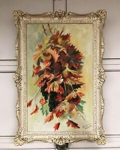 Beautiful Vintage Abstract Floral Oil on Board Painting