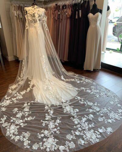 Wedding Cape Bridal Shoulder Veil Cloak White Ivory Long 3D Flower Lace Applique