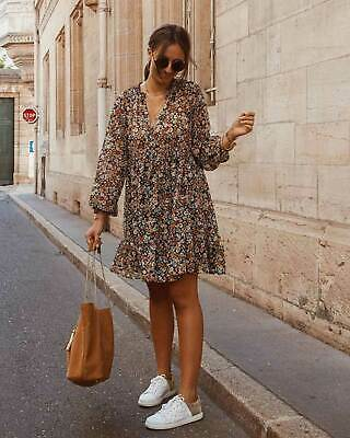 NWOT ZARA Multicolor FLORAL PRINT DRESS Mini Long Sleeve V-NECK Size S 2275
