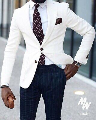 Männer Herren Anzüge (Mode Männer Weiß Jacke Navy Hose Anzüge Smoking Herren Anzüge Hochzeitsanzug)