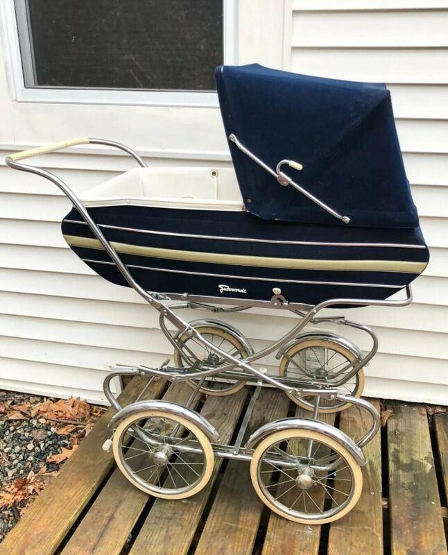Vintage 1950s Italian Suirrardi Navy Pram Stroller Carriage 2piece Chrome Clean