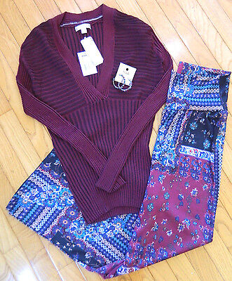 NEW Womens Outfit-Boho-Wide Leg-Flare Knit Pants_Ribbed Sweater_Earrings_Large L