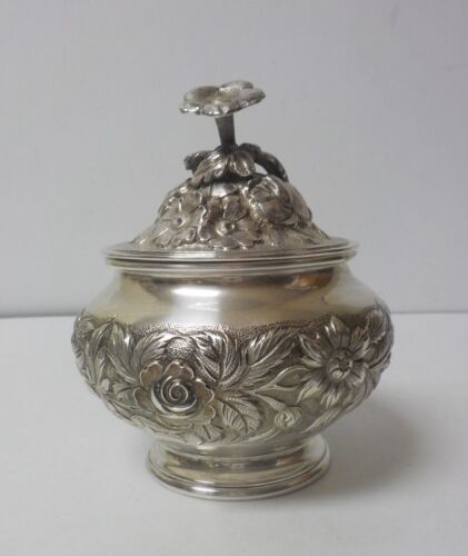 S. Kirk & Son  REPOUSSE Sterling Silver Lidded Sugar Bowl, 305 grams