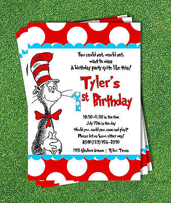 Cat in the Hat Invitations, Kids Birthday Party, Invitation Dr Seuss (Cat In The Hat Invitations)
