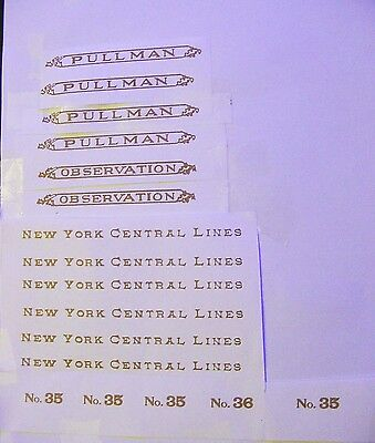 GOLD WATERSLIDE DECAL: LIONEL STANDARD GAUGE 35-35-36 PASSENGER SET W/SERIF LOOK
