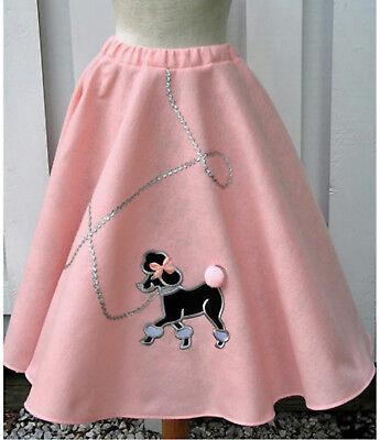 Adult Ladies Baby Pink Handmade Poodle Skirt Longer Length Choose Sz 50s Grease](Baby Poodle Skirt)