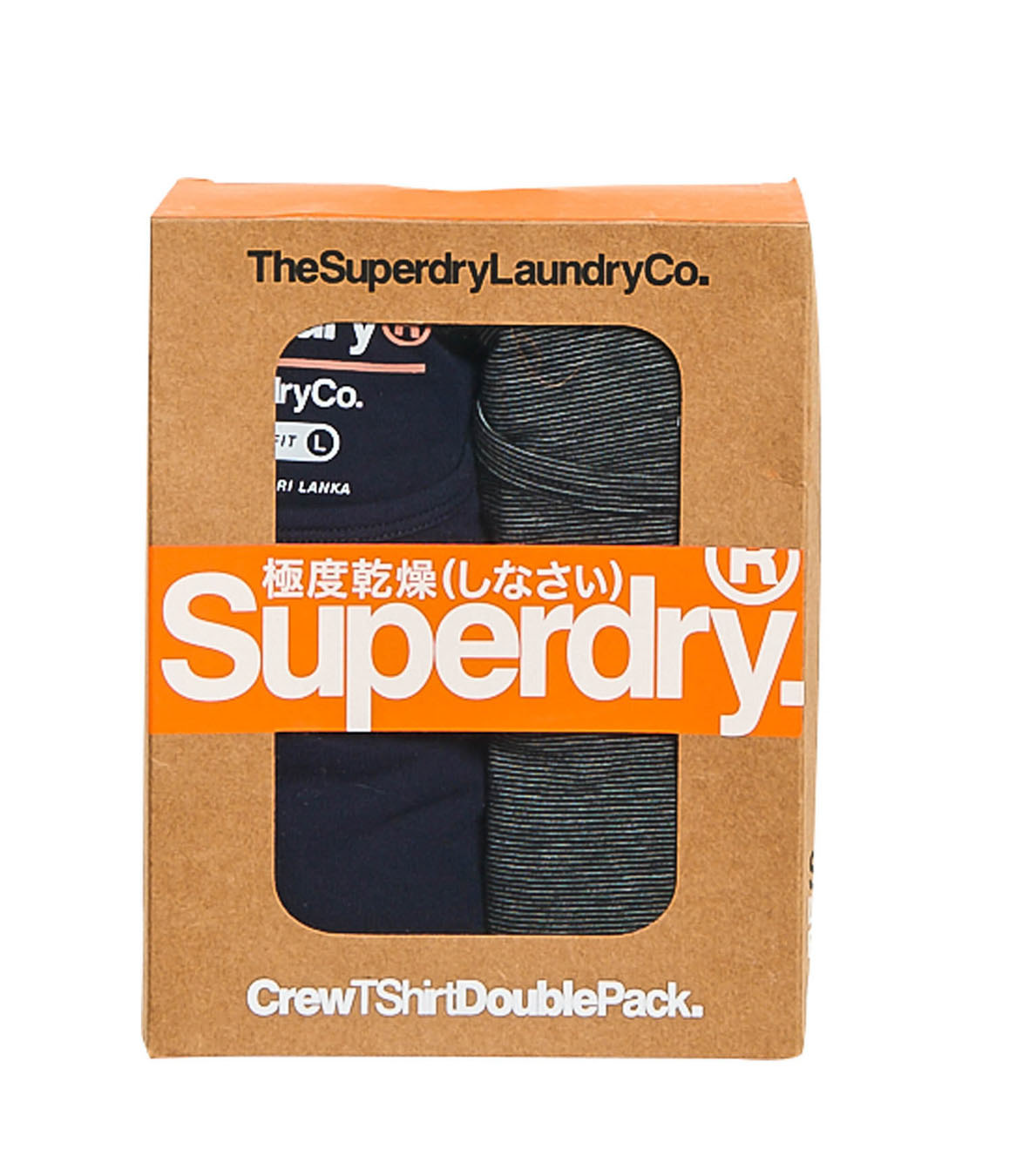Superdry Laundry Slim Tee Crew Neck T-Shirt Double Pack Navy/Black Feeder S - XL