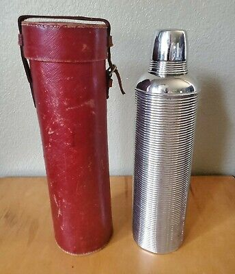 RARE Vtg. Antique 1910 Ribbed Thermos Bottle In Red Leather Case