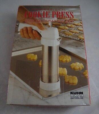 Kuhn Rikon Cookie Press and Decorating Set 20 Disks 6 Tips Switzerland Booklet Kuhn Rikon Cookie