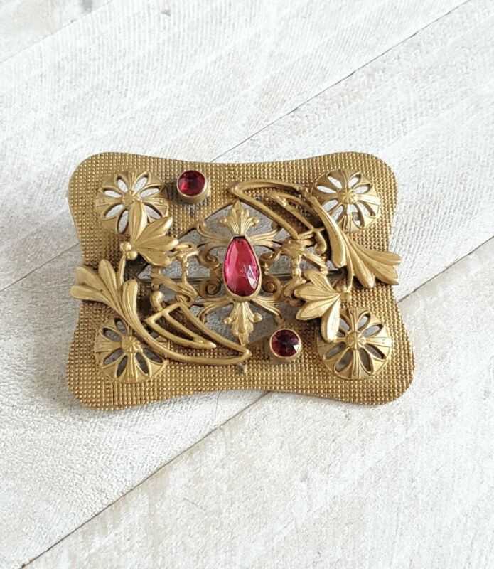 Vintage Early 20th C Sash Brooch, stamped brass, Art Nouveau Flowers, Red Stones