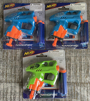 NEW Lot 3 NERF 2 Blue & 1 Green NANOFIRE Guns Blasters w/ 9 Elite Darts Party