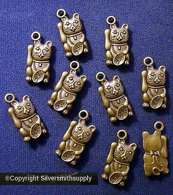10 Bronze CATs waving for dinner create kitty jewelry feline cat lovers  cfp077