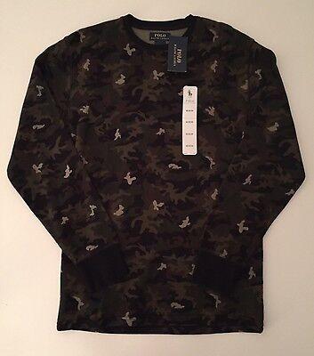 Nwt Mens Ralph Lauren Polo Long Sleeve Waffle Shirt  Black Green Camoflauge M