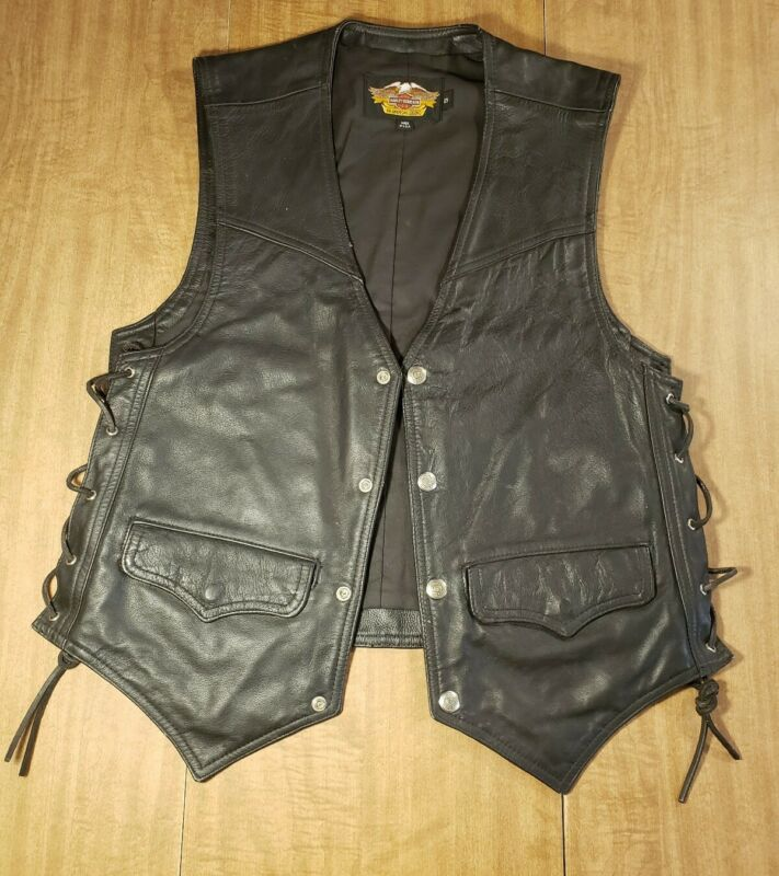 Vintage Genuine Harley Davidson Small Leather Vest with Patches