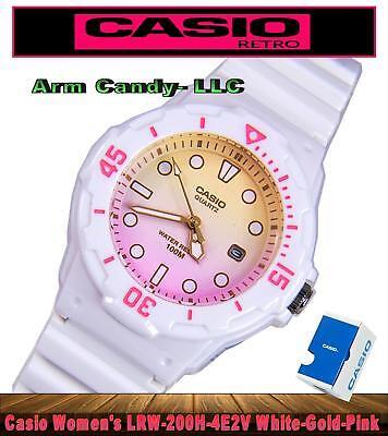 #NIB 34mm Casio Ladies Dive Serise Watch White Case & Straps w/Pink & Gold Dial  (Dive Watch Resin Case)
