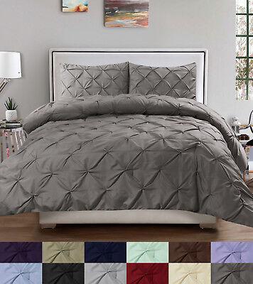 Duvet Cover & Pillow Sham Set - Luxury 3 Piece Pinch Pleat Pintuck Polyester