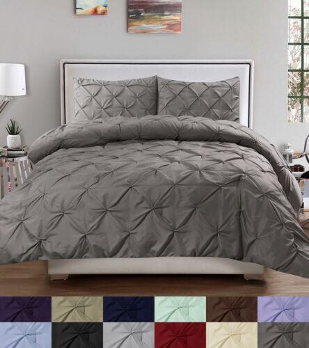 Duvet Cover & Pillow Sham Set – Luxury 3 Piece Pinch Pleat Pintuck Polyester Bedding