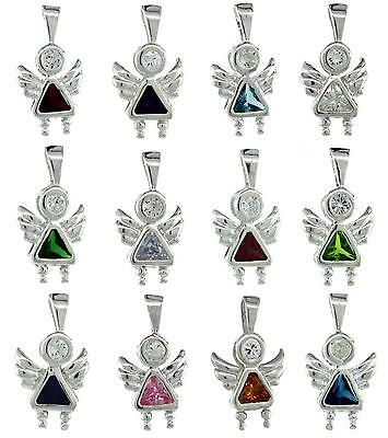 Sterling Silver Birthstone Angel Pendant Charm w/ Colored Cubic Zirconia Stone](Silver Rock)