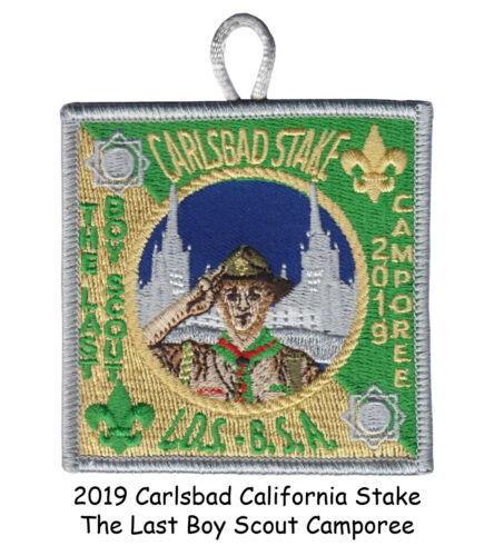 """BSA-LDS Carlsbad Stake 2019 """"The Last Boy Scout"""" Camporee Patch (Scouts Mormon)"""
