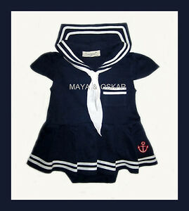 Baby Girl Summer Sailor Navy White Dress Fancy Outfit Marine Tunic Anchor