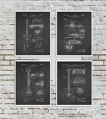 Vintage Gibson Electric Guitar Set of 4 Posters Black White Music Studio Decor (Electric Guitar Decorations)