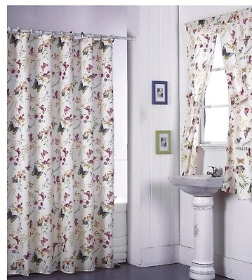 Shower Curtain Drapes + Bathroom Window Set w/ Liner+Rings  Butterfly Design - Butterfly Bathroom