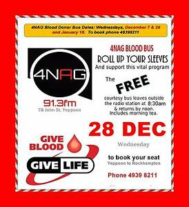 FREE Blood Bus Yeppoon 28 Dec Emu Park Yeppoon Area Preview