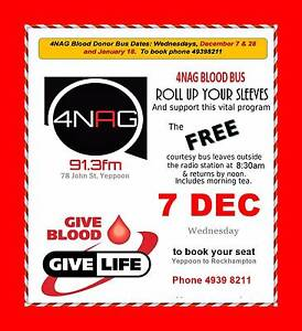FREE Blood Bus Yeppoon 7 Dec Emu Park Yeppoon Area Preview