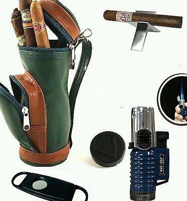 Cigar Cutter Gift Set (Cigar Caddy Golf Gift Set Mini Golf Bag Humidor Lighter Cutter)