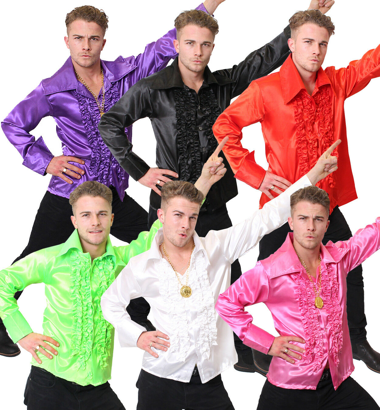 MENS PINK DISCO RUFFLE SHIRT ADULT FANCY DRESS COSTUME 60S 1970S S M L XL XXL