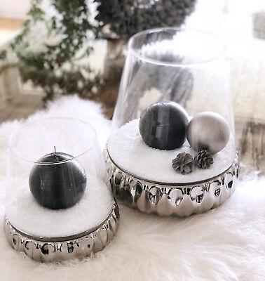 Windlicht Teelichthalter Glas silber Spiegelglas Sockel 2 Größen ()