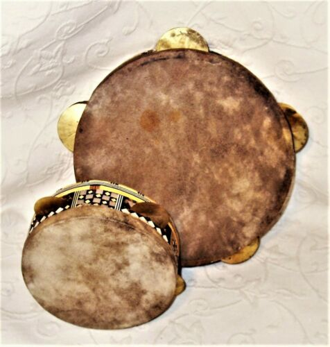 ATQ Pair OOAK 1 Sided Round Handmade Middle Eastern Tambourine Drums w/Marquetry