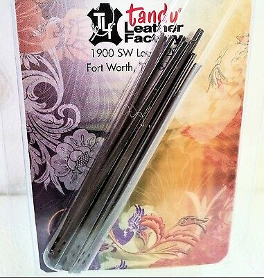 10 Pack 2-PRONG LACING NEEDLES 1190-00 Tandy Leather Craft Steel Lace Needle