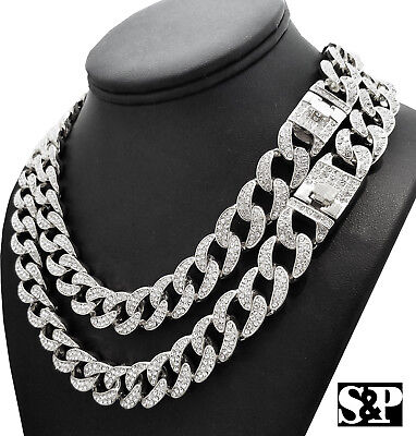 Hip Hop Quavo Full Iced Out 16  18   20   24  Miami Cuban Link Choker Necklace