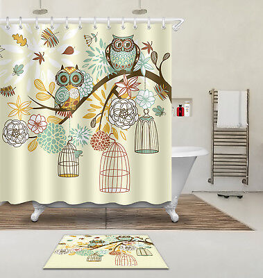 Shower Curtain Hooks Owl on the Branch Polyester Waterproof Fabric Bathroom Mat ()