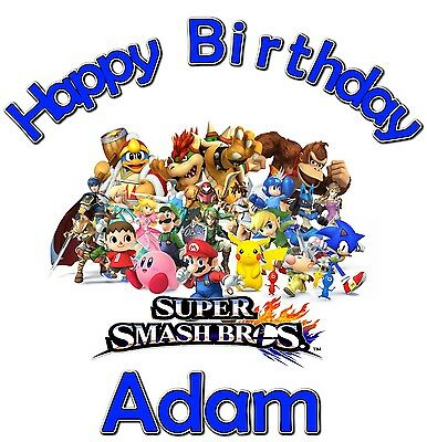 Super Smash Bros TShirt CUSTOM Personalize Birthday gift favor Mario - Personalize Gift
