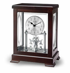 Bulova Empire Anniversary Solid Wood Espresso Finish Mantle Clock B1534