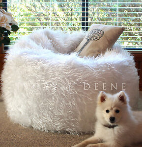 NEW SHAGGY WHITE FUR BEAN BAG+Liner Plush Soft Bedroom Luxury Lounge Movie Chair