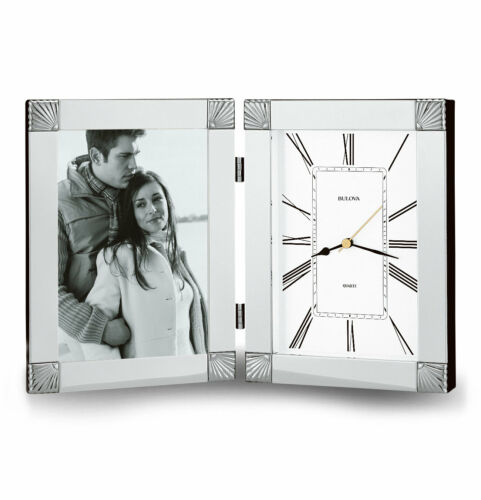 Bulova B1254 Ceremonial Picture Frame Clock Silver