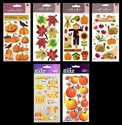 Halloween Scrapbook Embellishments (U CHOOSE Sticko Stickers HALLOWEEN PUMPKINS THANKSGIVING FALL LEAVES)