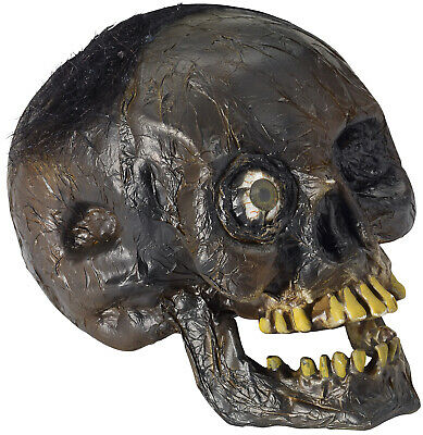 Light Up Rotted Head Rotten Zombie Skull Red LED Eye Creepy Halloween Prop